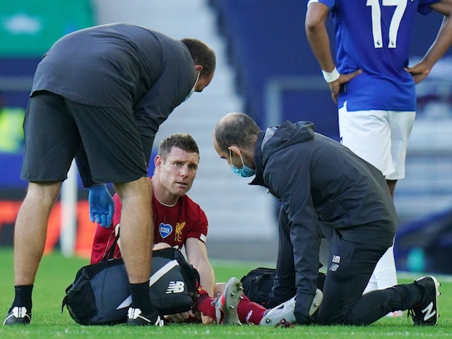 Liverpool's James Milner pictured while injured on June 21, 2020
