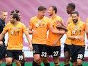 Leander Dendoncker celebrates opening the scoring for Wolves at Aston Villa on June 27, 2020
