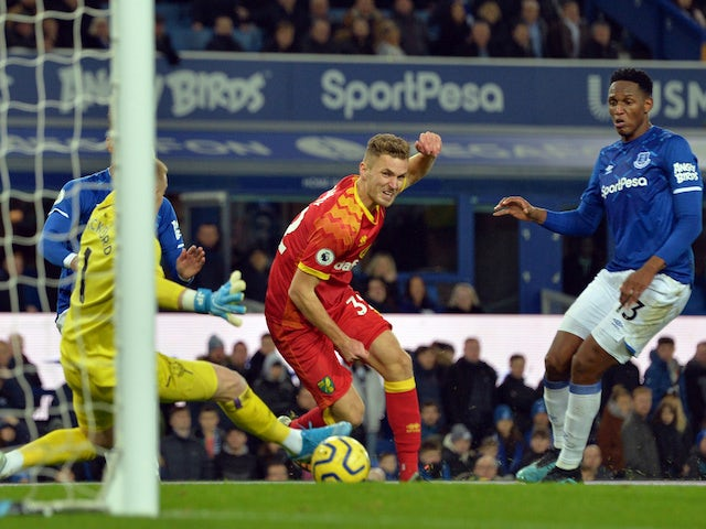 Norwich City's Dennis Srbeny scores against Everton in November 2019