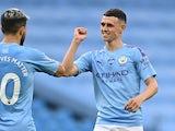 Phil Foden celebrates scoring for Man City on June 22, 2020