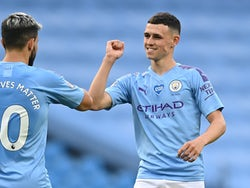 Phil Foden celebrates scoring for Man City on June 22, 2020