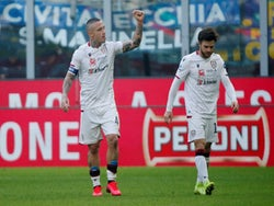 Radja Nainggolan celebrates after scoring for Cagliari against Inter Milan in January 2020