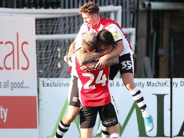 Ryan Bowman celebrates scoring for Exeter City on June 22, 2020