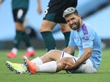 Sergio Aguero sits injured on June 22, 2020