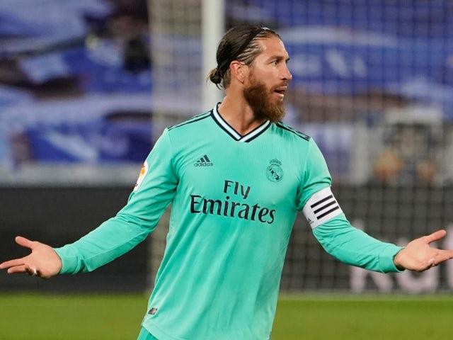Real Madrid defender Sergio Ramos in action against Real Sociedad on June 21, 2020.