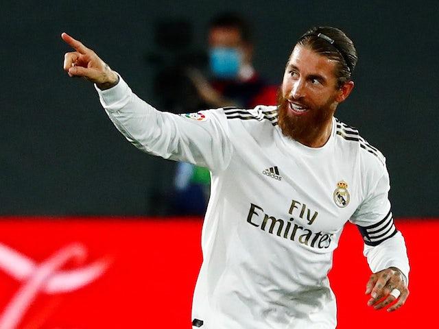 Sergio Ramos celebrates scoring Real Madrid's second on June 24, 2020