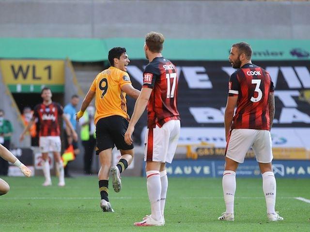 Wolverhampton Wanderers striker Raul Jimenez celebrates scoring against Bournemouth on June 24, 2020