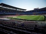 A general shot of Barcelona's Camp Nou taken in June 2020
