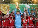 Bayern Munich players celebrate winning the DFB-Pokal against Bayer Leverkusen on July 4, 2020