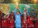 Bayern Munich players celebrate winning the DFB-Pokal against Bayer Leverkusen on July 4, 2020