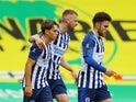 Brighton & Hove Albion's Leandro Trossard celebrates scoring against Norwich on July 4, 2020