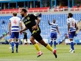 Brentford's Bryan Mbeumo celebrates scoring against Reading on June 30, 2020