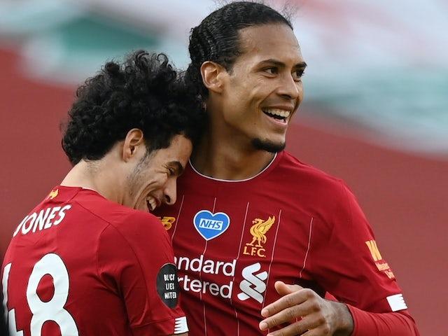Curtis Jones celebrates with Virgil Van Dijk after Liverpool defeat Aston Villa on July 5, 2020