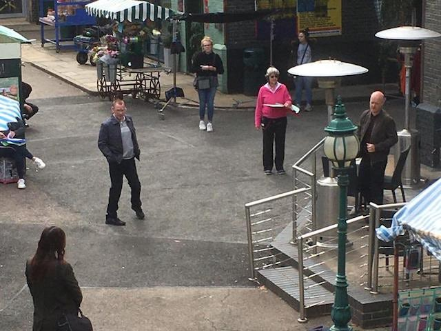 Behind the scenes on the first day back of EastEnders filming on June 29, 2020