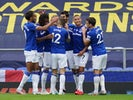 Everton forward Richarlison celebrates with teammates after scoring against Leicester on July 1, 2020
