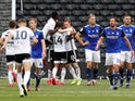 Fulham players celebrate scoring against Birmingham City on July 4, 2020