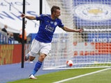 Leicester City striker Jamie Vardy celebrates scoring on July 4, 2020