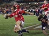British & Irish Lions winger Austin Healey scores a try against Brumbies in 2001