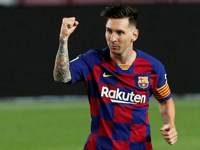 Barcelona captain Lionel Messi celebrates scoring his 700th goal in their match against Atletico Madrid on June 30, 2020