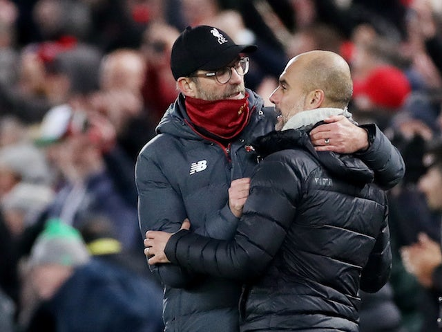 Liverpool manager Jurgen Klopp and Manchester City counterpart Pep Guardiola pictured after their Premier League clash in November 2019