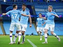 Manchester City's Phil Foden celebrates scoring against Liverpool in the Premier League on July 2, 2020