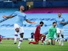 Manchester City's Raheem Sterling celebrates scoring against Liverpool on July 2, 2020