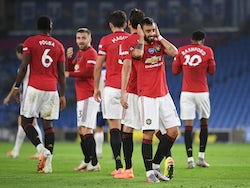 Manchester United midfielder Bruno Fernandes celebrates scoring against Brighton & Hove Albion on June 30, 2020