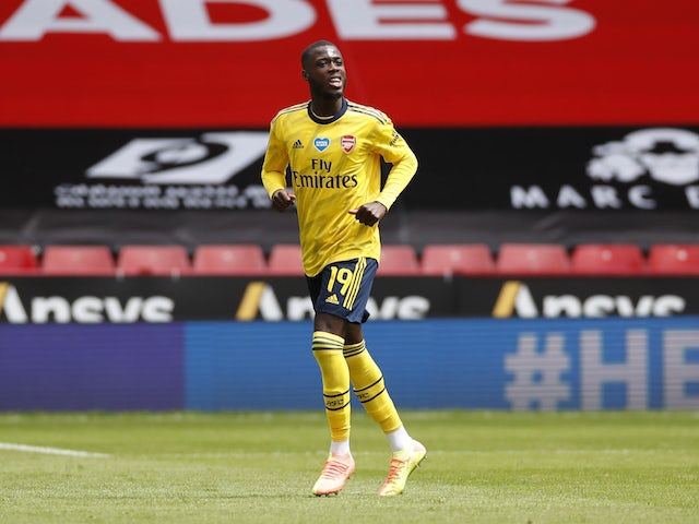 Arsenal's Nicolas Pepe celebrates scoring against Sheffield United on June 28, 2020