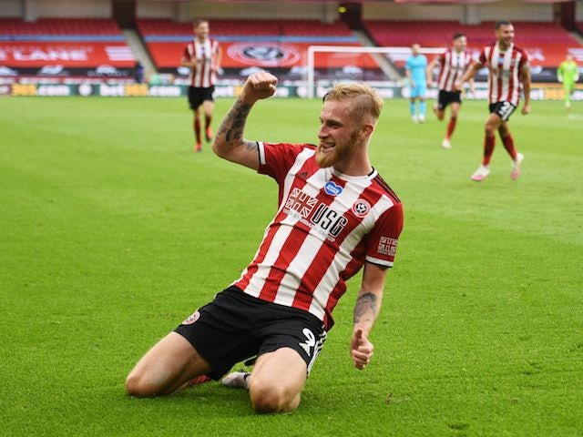 Sheffield United's Oliver McBurnie celebrates scoring against Tottenham Hotspur in the Premier League on July 2, 2020