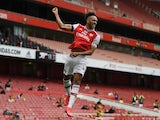 Arsenal captain Pierre-Emerick Aubameyang celebrates scoring against Norwich City on July 1, 2020