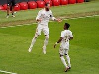 Real Madrid captain Sergio Ramos celebrates scoring on July 5, 2020