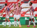 Stoke City players celebrate Tyrese Campbell's goal against Barnsley on July 4, 2020