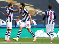 West Bromwich Albion players celebrate Ahmed Hegazi's goal against Hull on July 5, 2020