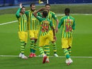 West Bromwich Albion players celebrate scoring against Sheffield Wednesday on July 1, 2020