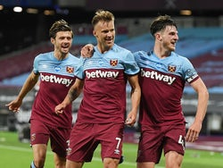Andriy Yarmolenko celebrates scoring for West Ham United against Chelsea on July 1, 2020