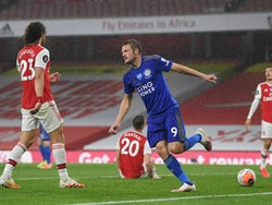 Leicester City striker Jamie Vardy celebrates scoring against Arsenal on July 7, 2020