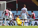 Aston Villa's Trezeguet scores against Crystal Palace in the Premier League on July 12, 2020