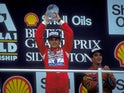 Ayrton Senna celebrates winning the 1988 British Grand Prix