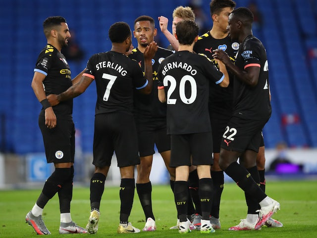 Manchester City's Raheem Sterling celebrates scoring against Brighton & Hove Albion in the Premier League on July 11, 2020