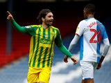 West Bromwich Albion's Filip Krovinovic scores against Blackburn on July 11, 2020