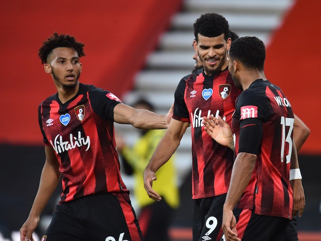 Bournemouth players celebrate Dominic Solanke's goal against Leicester City in the Premier League on July 12, 2020