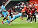 Harry Kane of Tottenham Hotspur goes down in the penalty area against Bournemouth on July 9, 2020