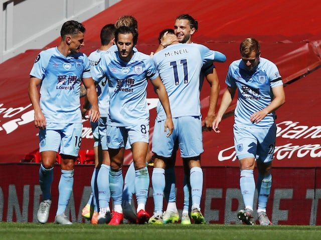 Burnley players celebrate Jay Rodriguez's equalising goal against Liverpool on July 11, 2020