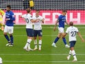 Tottenham Hotspur players celebrate an Everton own goal on July 6, 2020