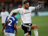 Fulham's Aleksandar Mitrovic celebrates scoring against Cardiff City in the Championship on July 10, 2020
