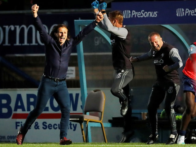 Wycombe Wanderers manager Gareth Ainsworth celebrates on July 6, 2020