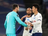 Tottenham Hotspur goalkeeper Hugo Lloris and forward Son Heung-min make up after beating Everton on July 6, 2020