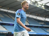 Kevin De Bruyne in action for Manchester City on July 8, 2020