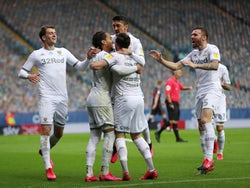 Leeds United players celebrate during their victory over Stoke on July 9, 2020
