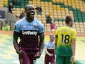 West Ham United's Michail Antonio celebrates scoring against Norwich City in the Premier League on July 11, 2020